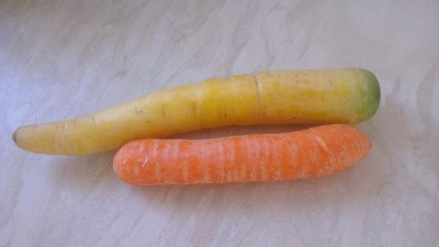 yellow and orange carrot side by side