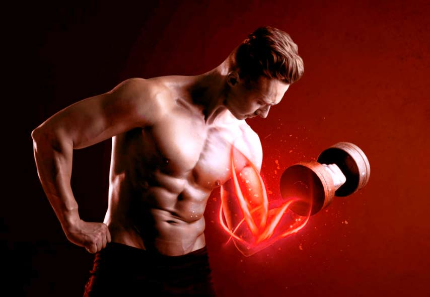 biceps muscles glowing red after light therapy